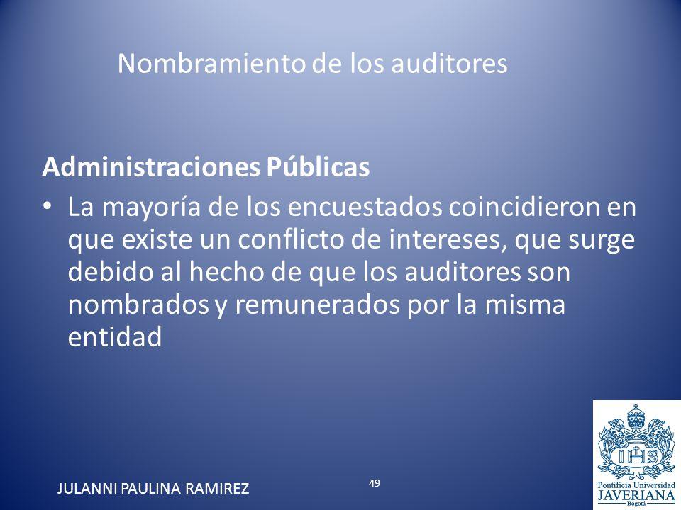 Administraciones Públicas La mayoría de los encuestados coincidieron en que existe un conflicto de intereses, que surge debido al hecho de que los aud