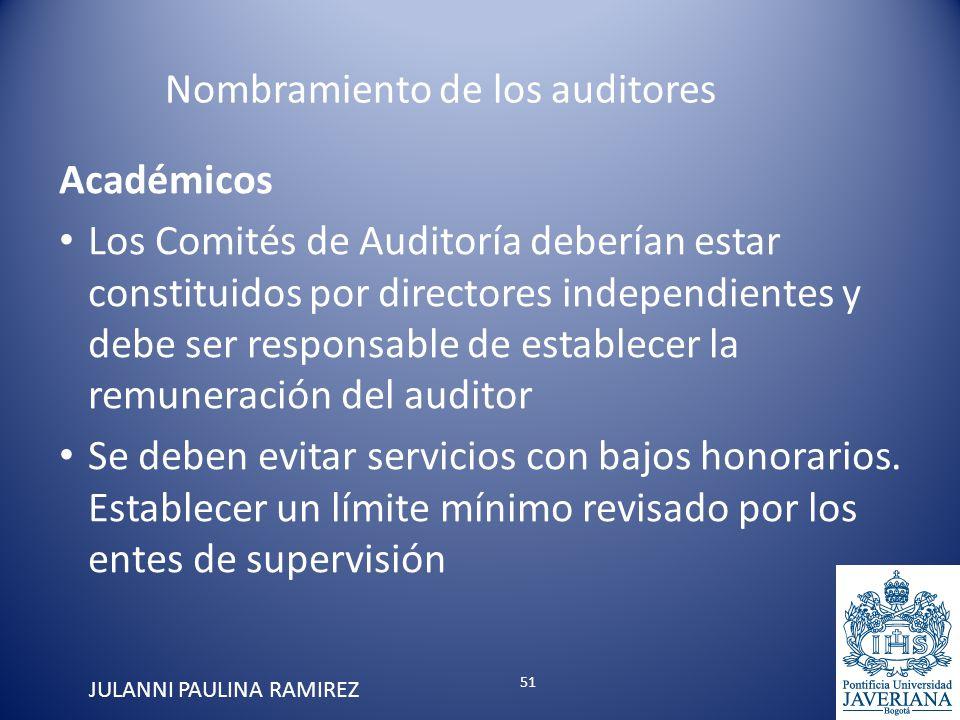 Académicos Los Comités de Auditoría deberían estar constituidos por directores independientes y debe ser responsable de establecer la remuneración del
