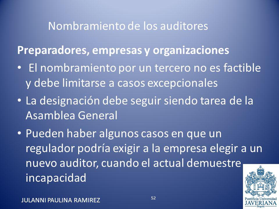 Preparadores, empresas y organizaciones El nombramiento por un tercero no es factible y debe limitarse a casos excepcionales La designación debe segui