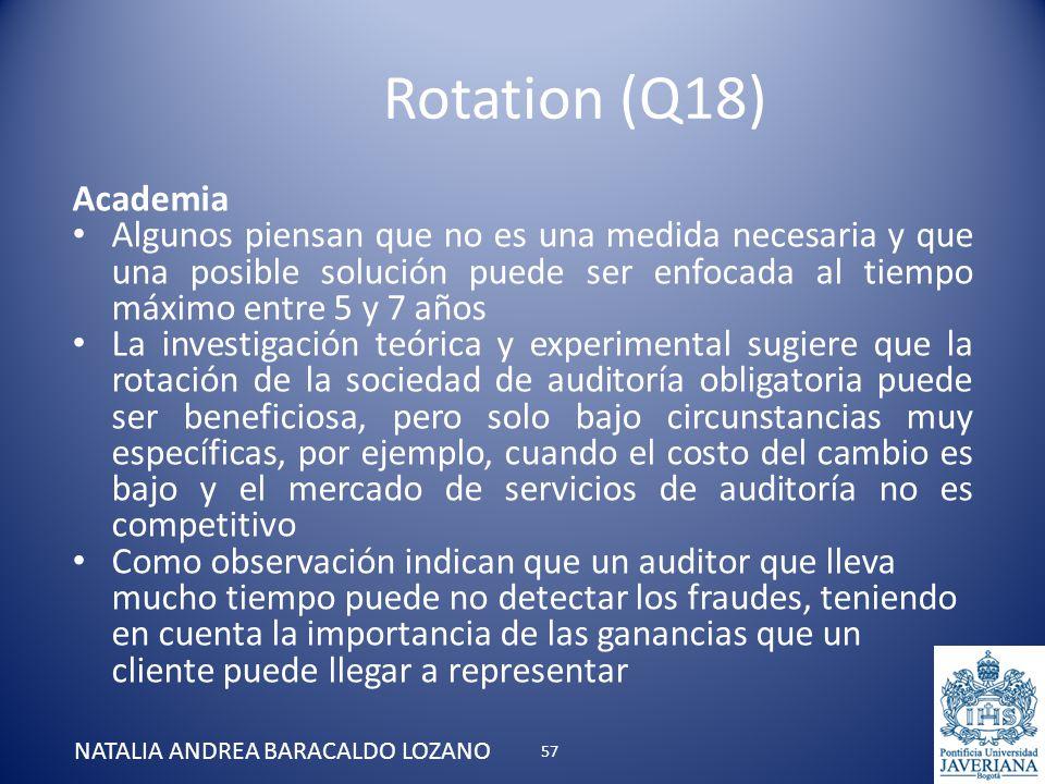 Rotation (Q18) NATALIA ANDREA BARACALDO LOZANO Academia Algunos piensan que no es una medida necesaria y que una posible solución puede ser enfocada a