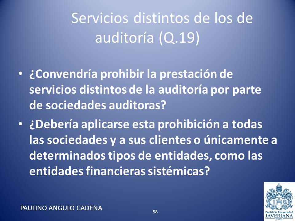 Servicios distintos de los de auditoría (Q.19) ¿Convendría prohibir la prestación de servicios distintos de la auditoría por parte de sociedades audit