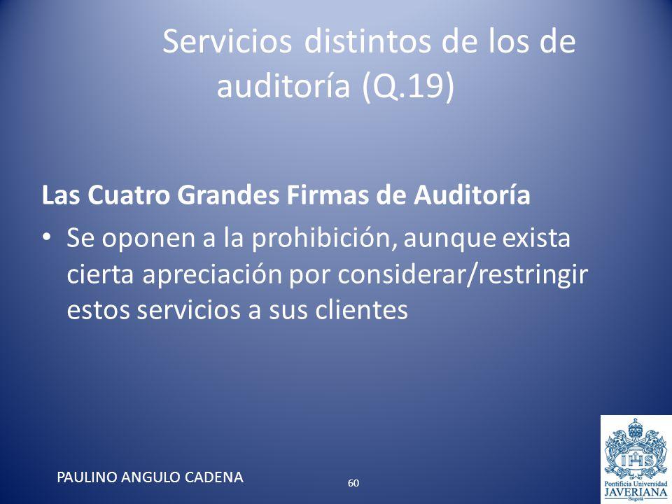 Servicios distintos de los de auditoría (Q.19) Las Cuatro Grandes Firmas de Auditoría Se oponen a la prohibición, aunque exista cierta apreciación por