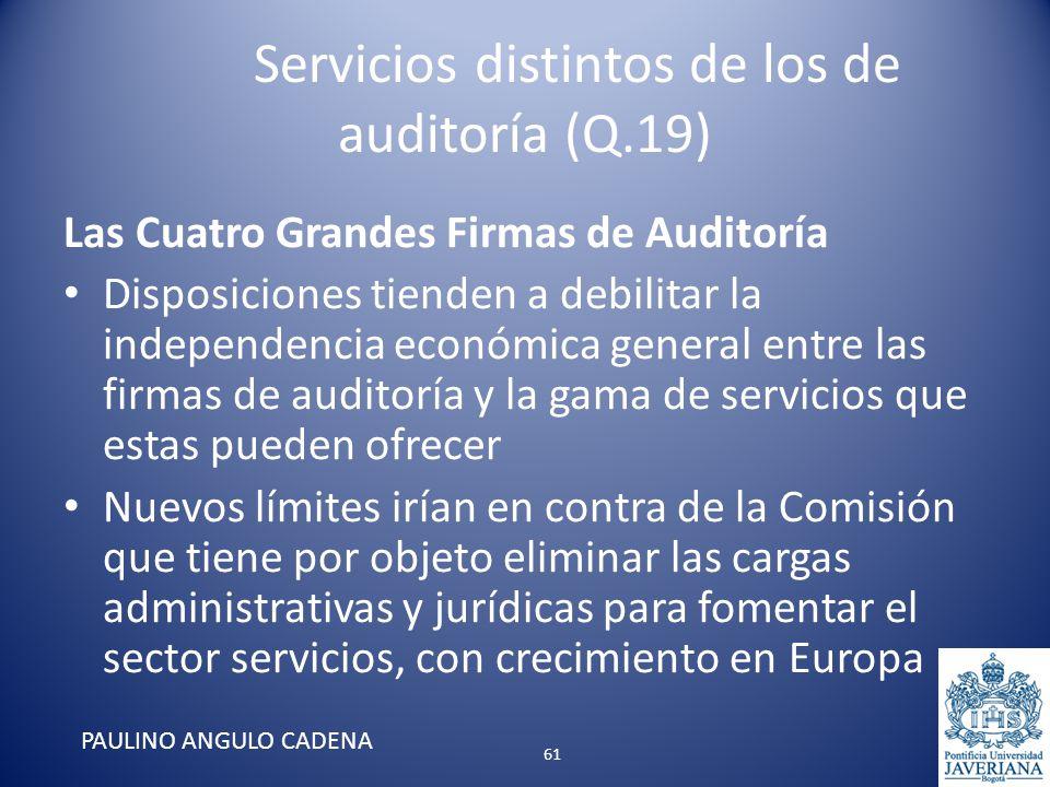 Servicios distintos de los de auditoría (Q.19) Las Cuatro Grandes Firmas de Auditoría Disposiciones tienden a debilitar la independencia económica gen