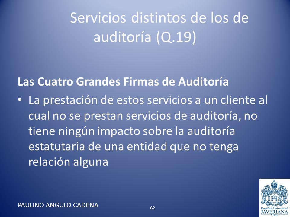 Servicios distintos de los de auditoría (Q.19) Las Cuatro Grandes Firmas de Auditoría La prestación de estos servicios a un cliente al cual no se pres