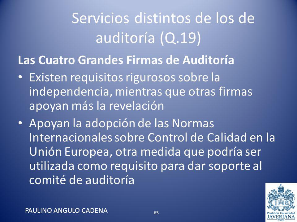 Servicios distintos de los de auditoría (Q.19) Las Cuatro Grandes Firmas de Auditoría Existen requisitos rigurosos sobre la independencia, mientras qu