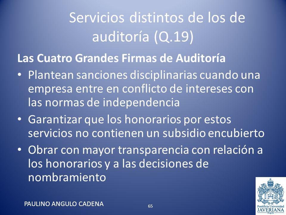 Servicios distintos de los de auditoría (Q.19) Las Cuatro Grandes Firmas de Auditoría Plantean sanciones disciplinarias cuando una empresa entre en co