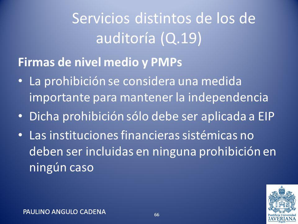 Servicios distintos de los de auditoría (Q.19) Firmas de nivel medio y PMPs La prohibición se considera una medida importante para mantener la indepen