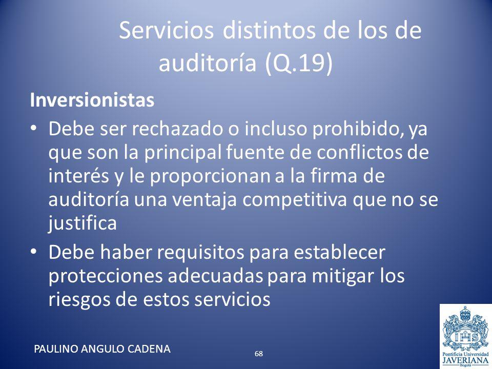 Servicios distintos de los de auditoría (Q.19) Inversionistas Debe ser rechazado o incluso prohibido, ya que son la principal fuente de conflictos de