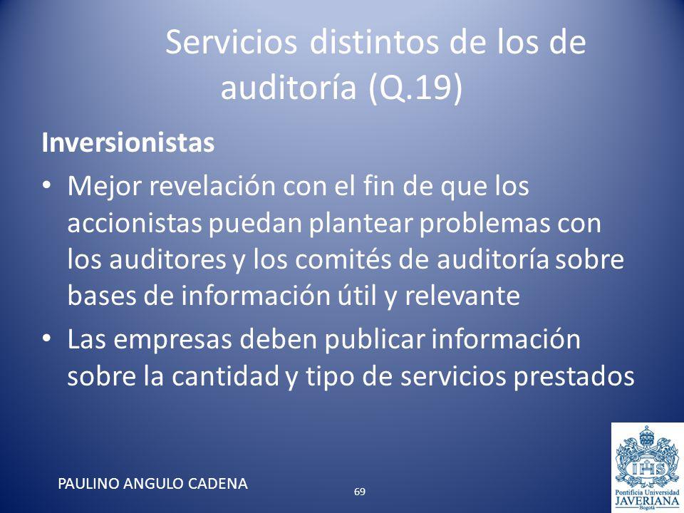 Servicios distintos de los de auditoría (Q.19) Inversionistas Mejor revelación con el fin de que los accionistas puedan plantear problemas con los aud