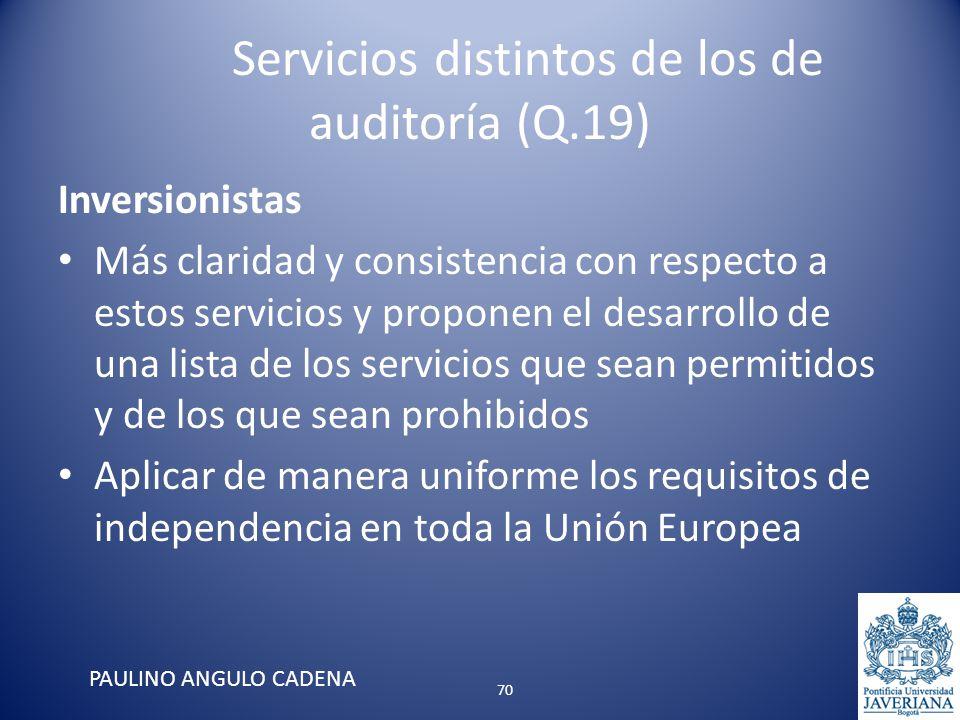 Servicios distintos de los de auditoría (Q.19) Inversionistas Más claridad y consistencia con respecto a estos servicios y proponen el desarrollo de u