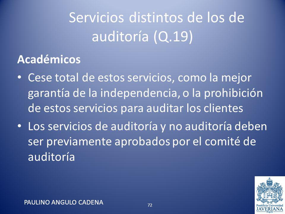 Servicios distintos de los de auditoría (Q.19) Académicos Cese total de estos servicios, como la mejor garantía de la independencia, o la prohibición