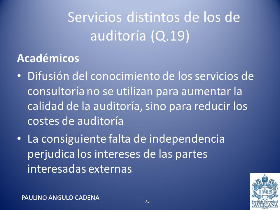 Servicios distintos de los de auditoría (Q.19) Académicos Difusión del conocimiento de los servicios de consultoría no se utilizan para aumentar la ca