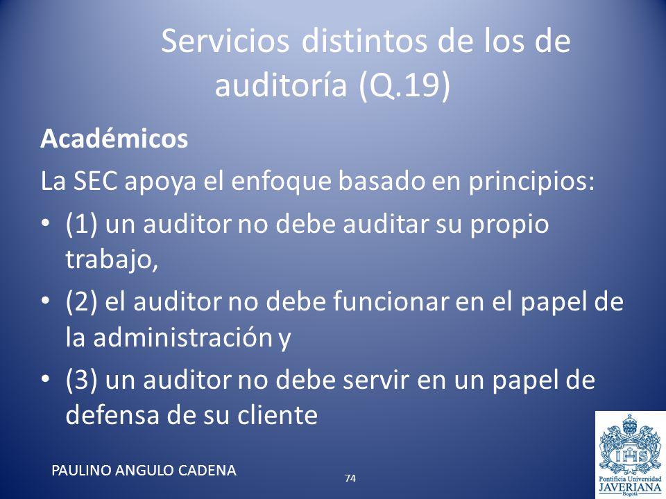 Servicios distintos de los de auditoría (Q.19) Académicos La SEC apoya el enfoque basado en principios: (1) un auditor no debe auditar su propio traba