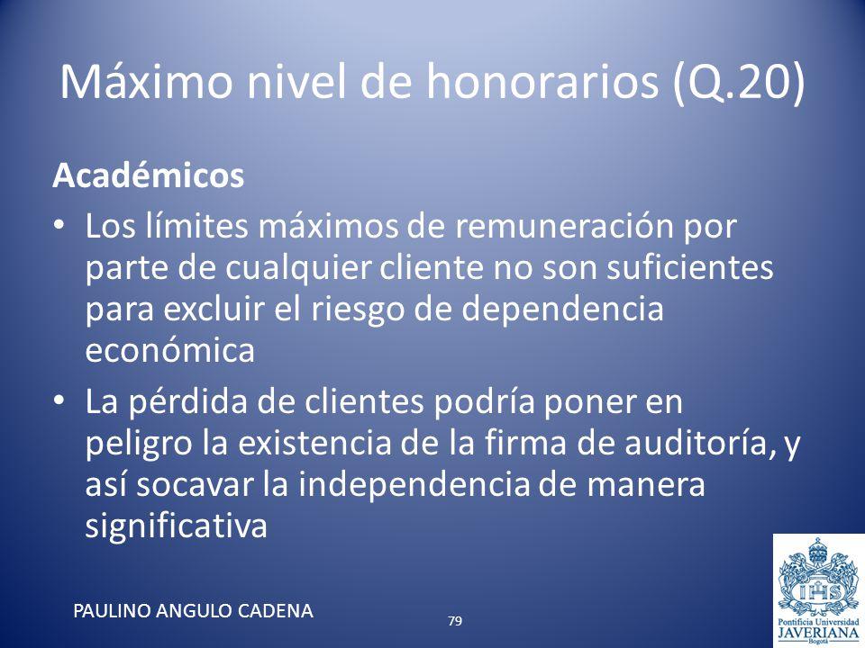 Máximo nivel de honorarios (Q.20) Académicos Los límites máximos de remuneración por parte de cualquier cliente no son suficientes para excluir el rie