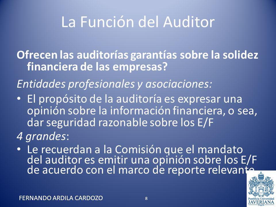 La Función del Auditor Sobre el reporte consideran que el lenguaje debe ser revisado (muy defensivo y difícil de entender) Firmas medianas y pequeñas: Consideran que la calidad de la auditoría puede afectarse adversamente por la presión, en muchos países, para reducir los honorarios de auditoría Opinan que la estandarización de los reportes de auditoría ha despojado la opinión del auditor de un contenido significativo FERNANDO ARDILA CARDOZO 29
