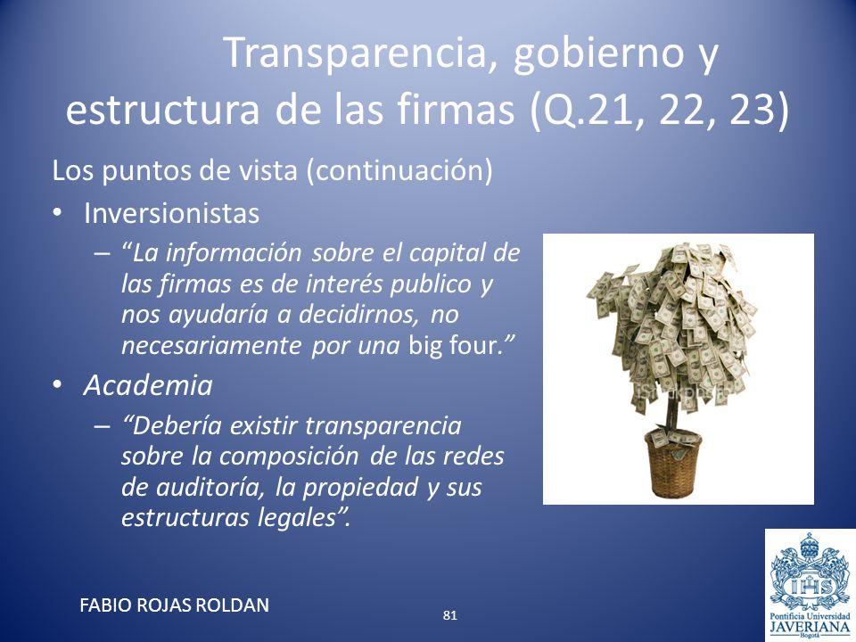 Transparencia, gobierno y estructura de las firmas (Q.21, 22, 23) Los puntos de vista (continuación) Inversionistas –La información sobre el capital d