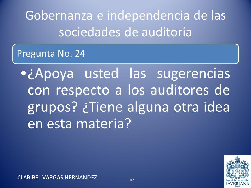 Gobernanza e independencia de las sociedades de auditoría Pregunta No. 24 ¿Apoya usted las sugerencias con respecto a los auditores de grupos? ¿Tiene