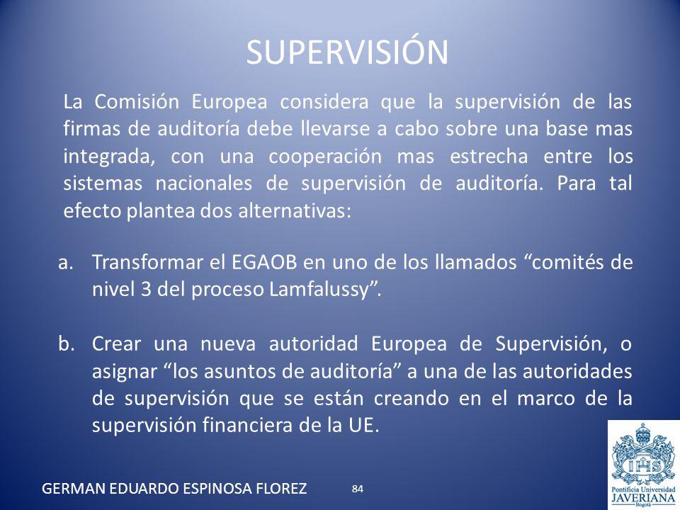 La Comisión Europea considera que la supervisión de las firmas de auditoría debe llevarse a cabo sobre una base mas integrada, con una cooperación mas
