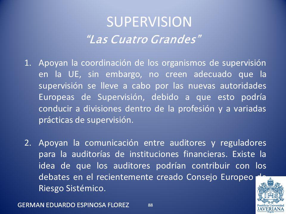Las Cuatro Grandes 1.Apoyan la coordinación de los organismos de supervisión en la UE, sin embargo, no creen adecuado que la supervisión se lleve a ca