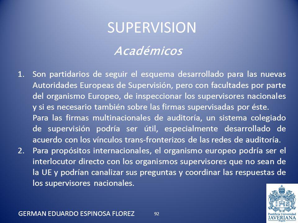 Académicos 1.Son partidarios de seguir el esquema desarrollado para las nuevas Autoridades Europeas de Supervisión, pero con facultades por parte del