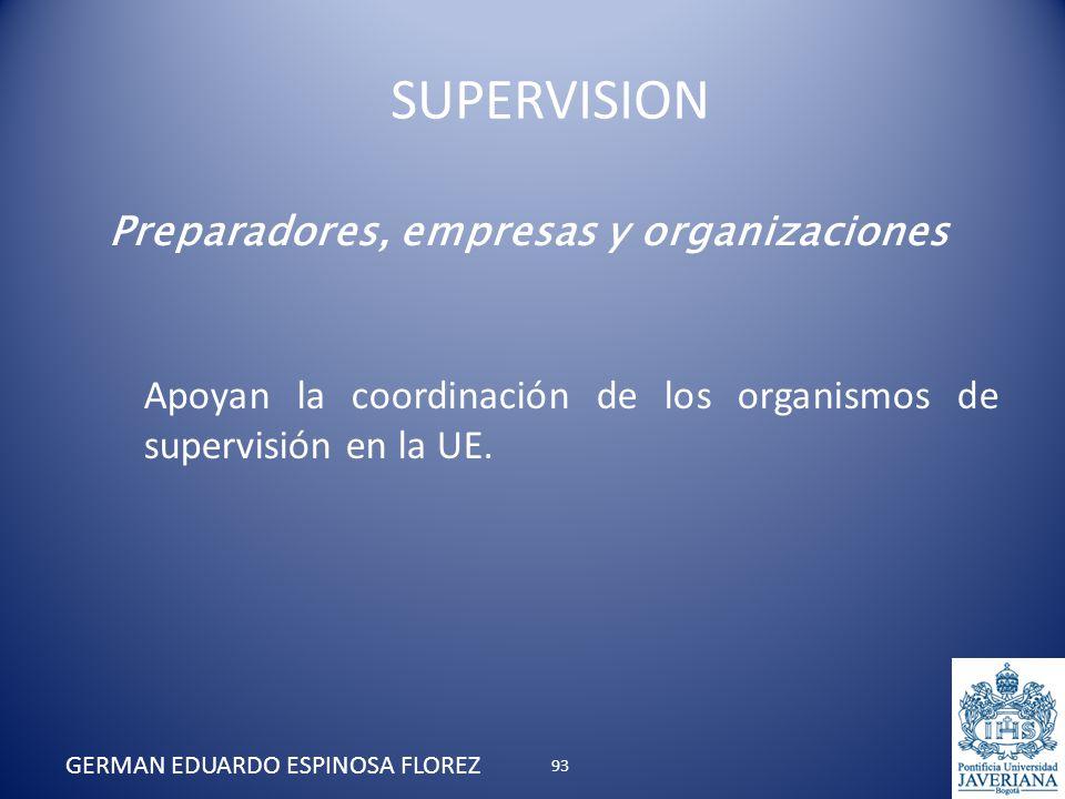 Preparadores, empresas y organizaciones Apoyan la coordinación de los organismos de supervisión en la UE. GERMAN EDUARDO ESPINOSA FLOREZ SUPERVISION 9