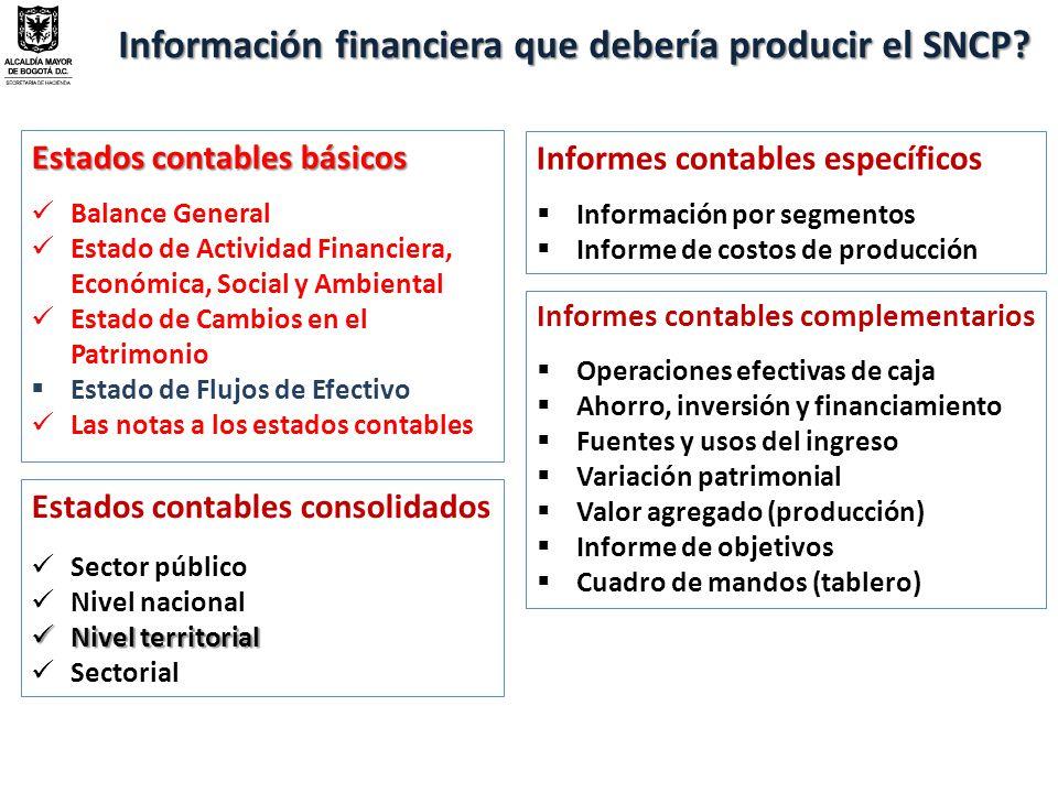 Información financiera que debería producir el SNCP.