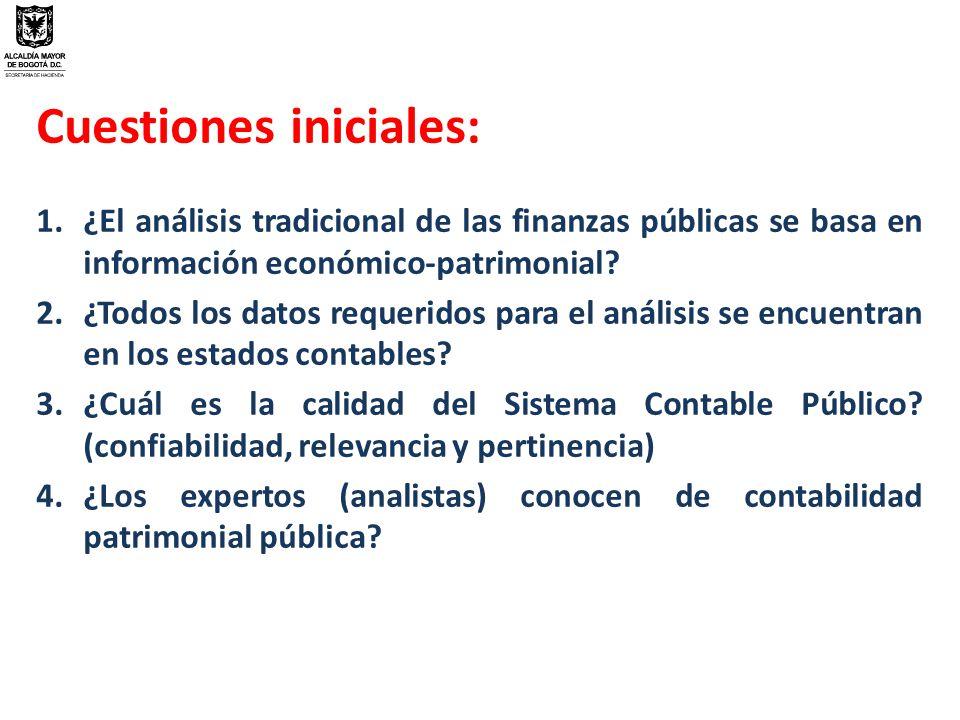 Cuestiones iniciales: 1.¿El análisis tradicional de las finanzas públicas se basa en información económico-patrimonial.