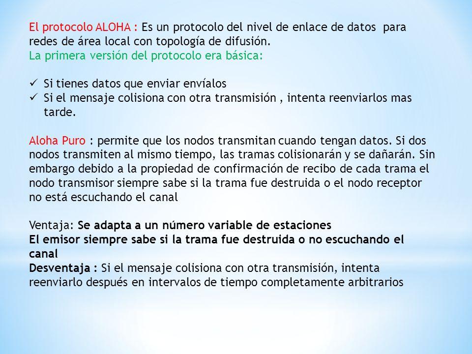 El protocolo ALOHA : Es un protocolo del nivel de enlace de datos para redes de área local con topología de difusión.