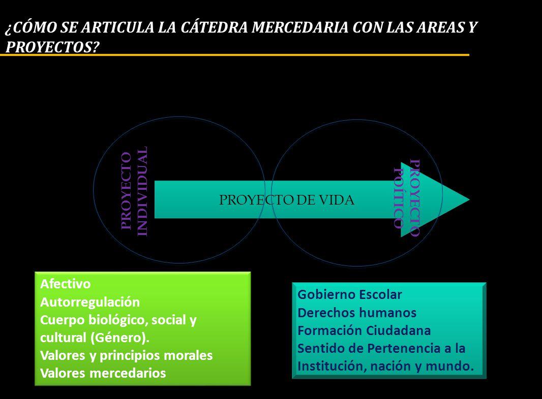 ¿CÓMO SE ARTICULA LA CÁTEDRA MERCEDARIA CON LAS AREAS Y PROYECTOS? PROYECTO DE VIDA PROYECTO INDIVIDUAL PROYECTO POÍTICO Afectivo Autorregulación Cuer