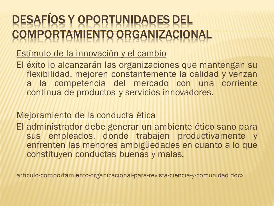 Estímulo de la innovación y el cambio El éxito lo alcanzarán las organizaciones que mantengan su flexibilidad, mejoren constantemente la calidad y ven