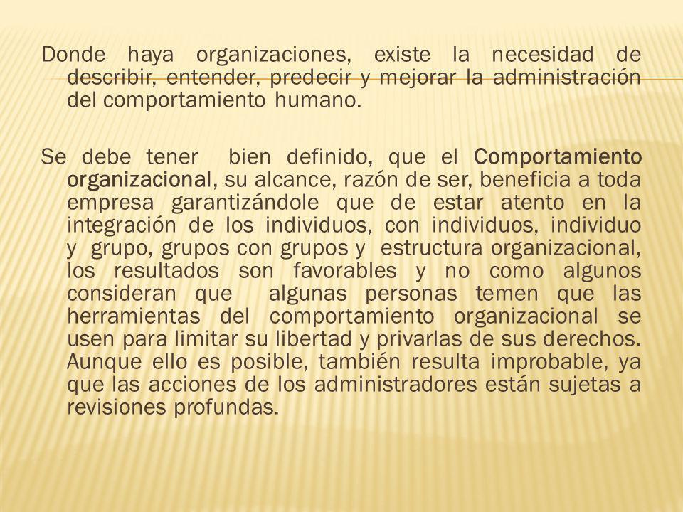 Donde haya organizaciones, existe la necesidad de describir, entender, predecir y mejorar la administración del comportamiento humano.