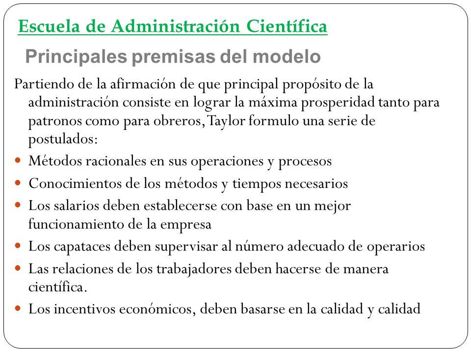 Principales premisas del modelo Partiendo de la afirmación de que principal propósito de la administración consiste en lograr la máxima prosperidad ta
