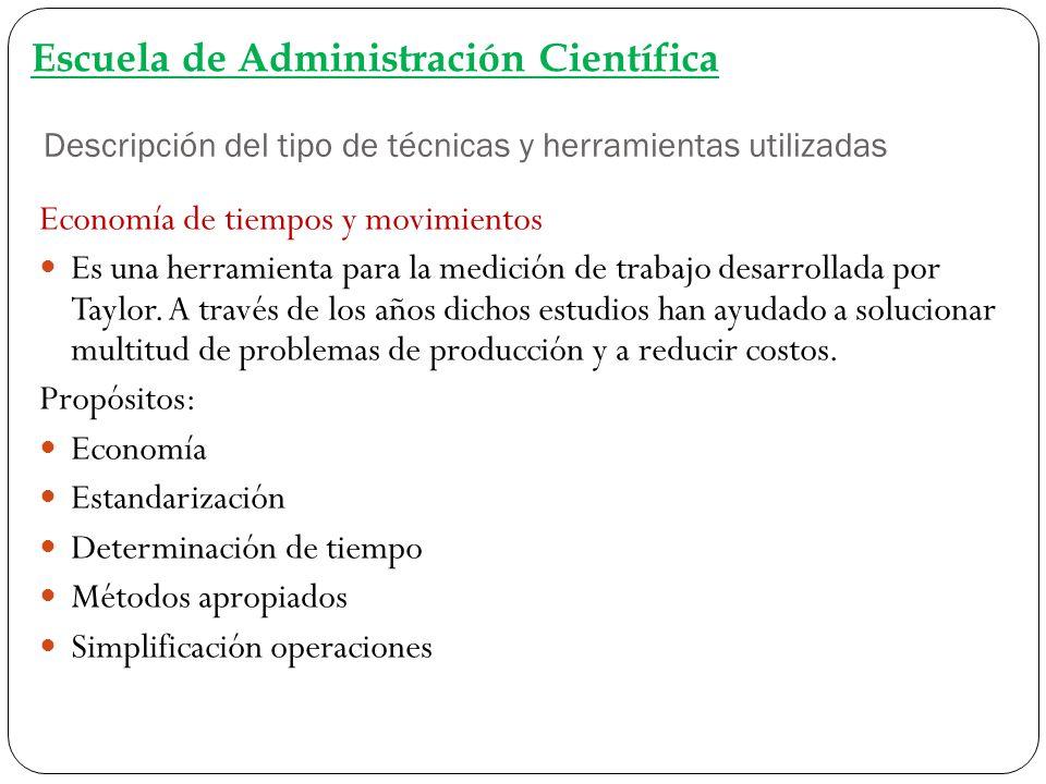 Descripción del tipo de técnicas y herramientas utilizadas Escuela de Administración Científica Economía de tiempos y movimientos Es una herramienta p