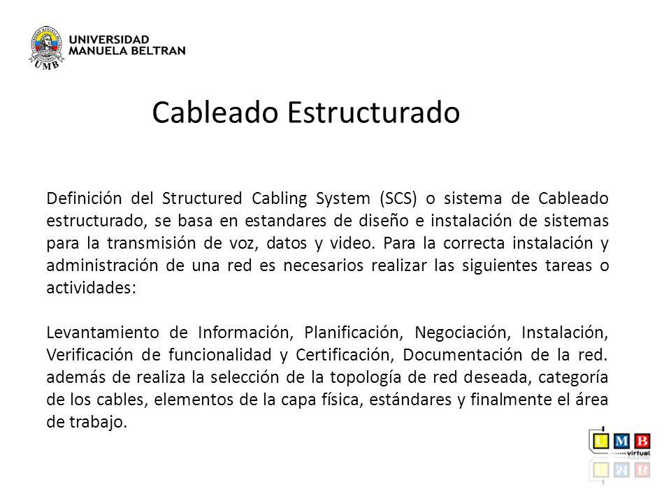 Definición del Structured Cabling System (SCS) o sistema de Cableado estructurado, se basa en estandares de diseño e instalación de sistemas para la t