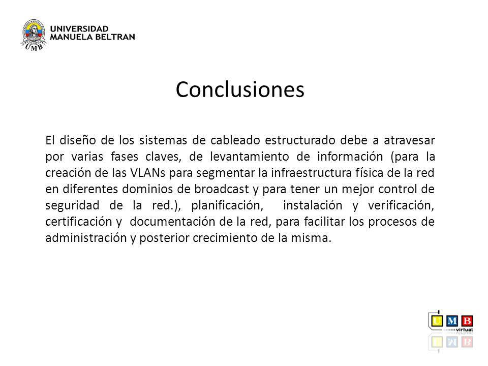 Conclusiones El diseño de los sistemas de cableado estructurado debe a atravesar por varias fases claves, de levantamiento de información (para la cre