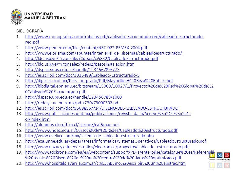 BIBLIOGRAFÍA 1.http://www.monografias.com/trabajos-pdf/cableado-estructurado-red/cableado-estructurado- red.pdfhttp://www.monografias.com/trabajos-pdf