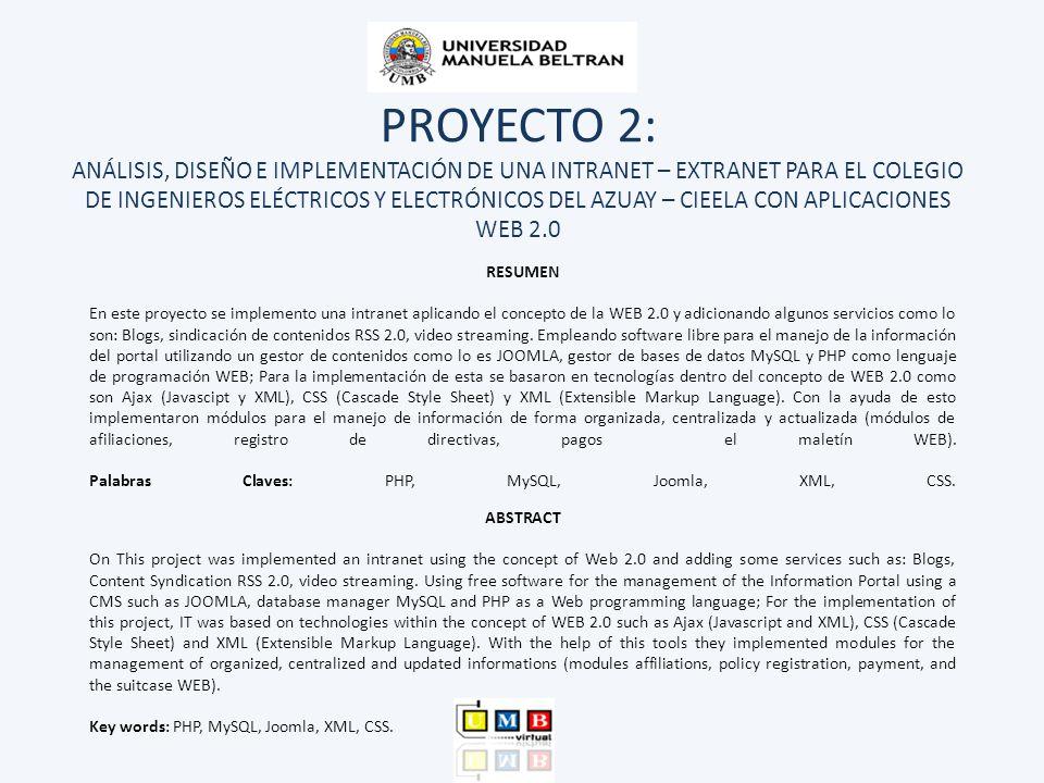 PROYECTO 2: ANÁLISIS, DISEÑO E IMPLEMENTACIÓN DE UNA INTRANET – EXTRANET PARA EL COLEGIO DE INGENIEROS ELÉCTRICOS Y ELECTRÓNICOS DEL AZUAY – CIEELA CO