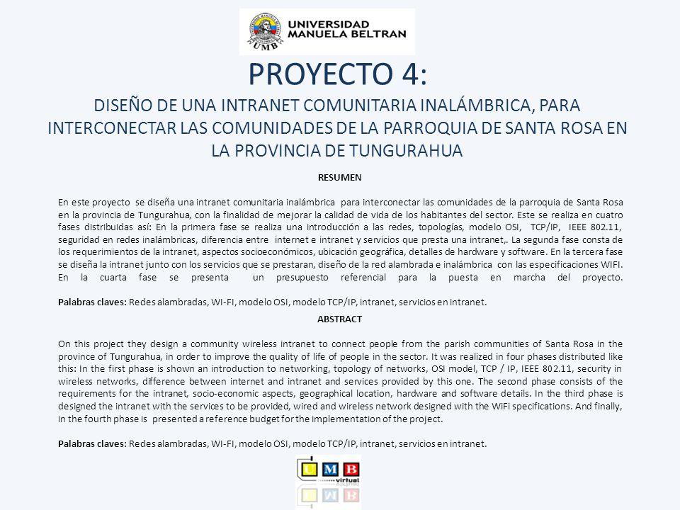 PROYECTO 4: DISEÑO DE UNA INTRANET COMUNITARIA INALÁMBRICA, PARA INTERCONECTAR LAS COMUNIDADES DE LA PARROQUIA DE SANTA ROSA EN LA PROVINCIA DE TUNGUR