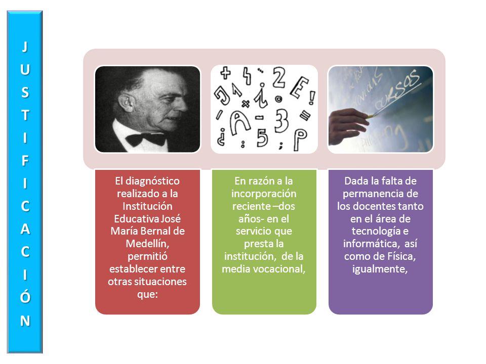 El diagnóstico realizado a la Institución Educativa José María Bernal de Medellín, permitió establecer entre otras situaciones que: En razón a la inco