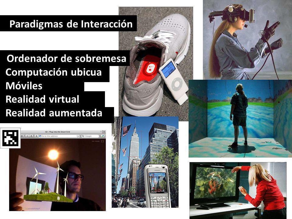 Paradigmas de Interacción Ordenador de sobremesa Computación ubicua Móviles Realidad virtual Realidad aumentada