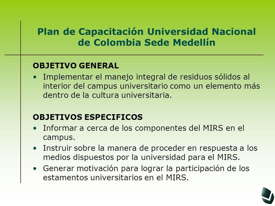 Plan de Capacitación Universidad Nacional de Colombia Sede Medellín OBJETIVO GENERAL Implementar el manejo integral de residuos sólidos al interior de