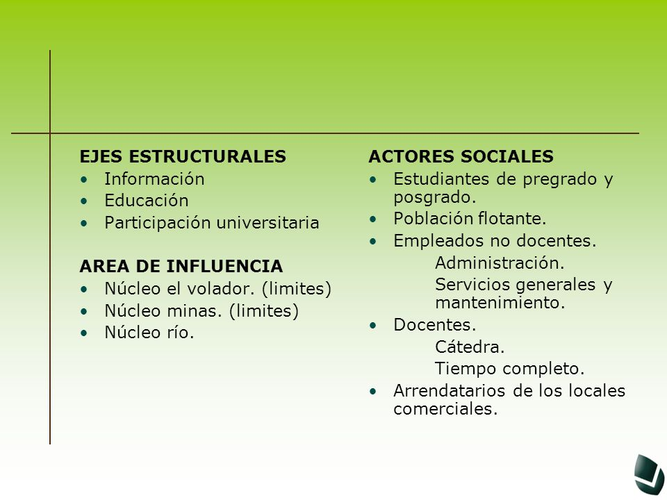EJES ESTRUCTURALES Información Educación Participación universitaria AREA DE INFLUENCIA Núcleo el volador. (limites) Núcleo minas. (limites) Núcleo rí