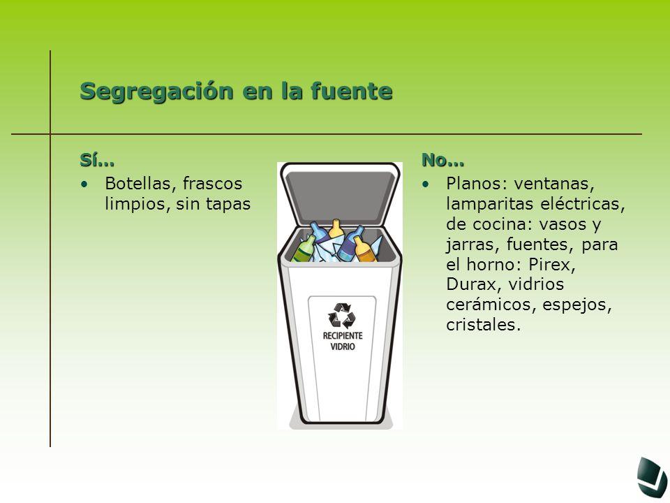 Segregación en la fuente Sí… Botellas, frascos limpios, sin tapasNo… Planos: ventanas, lamparitas eléctricas, de cocina: vasos y jarras, fuentes, para