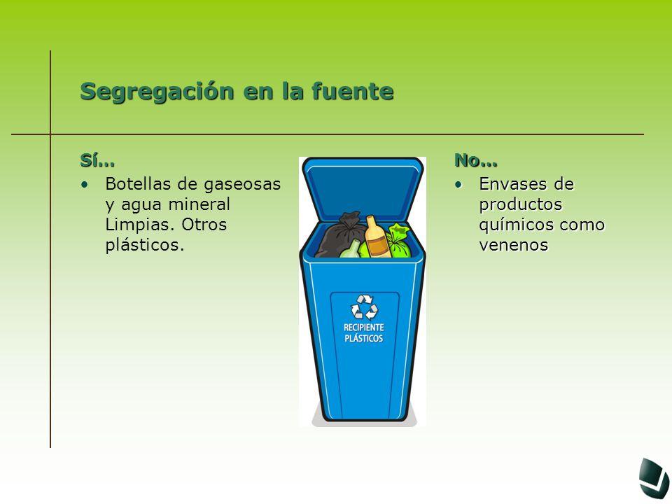Segregación en la fuente Sí… Botellas de gaseosas y agua mineral Limpias. Otros plásticos.No… Envases de productos químicos como venenosEnvases de pro