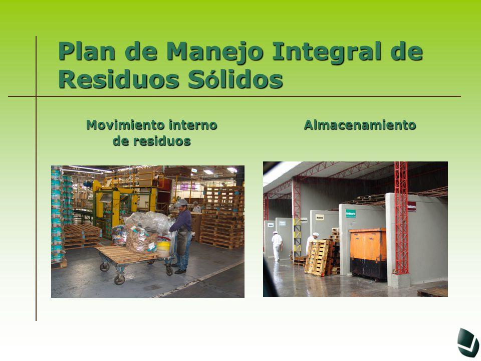 Plan de Manejo Integral de Residuos S ó lidos Movimiento interno de residuos Almacenamiento