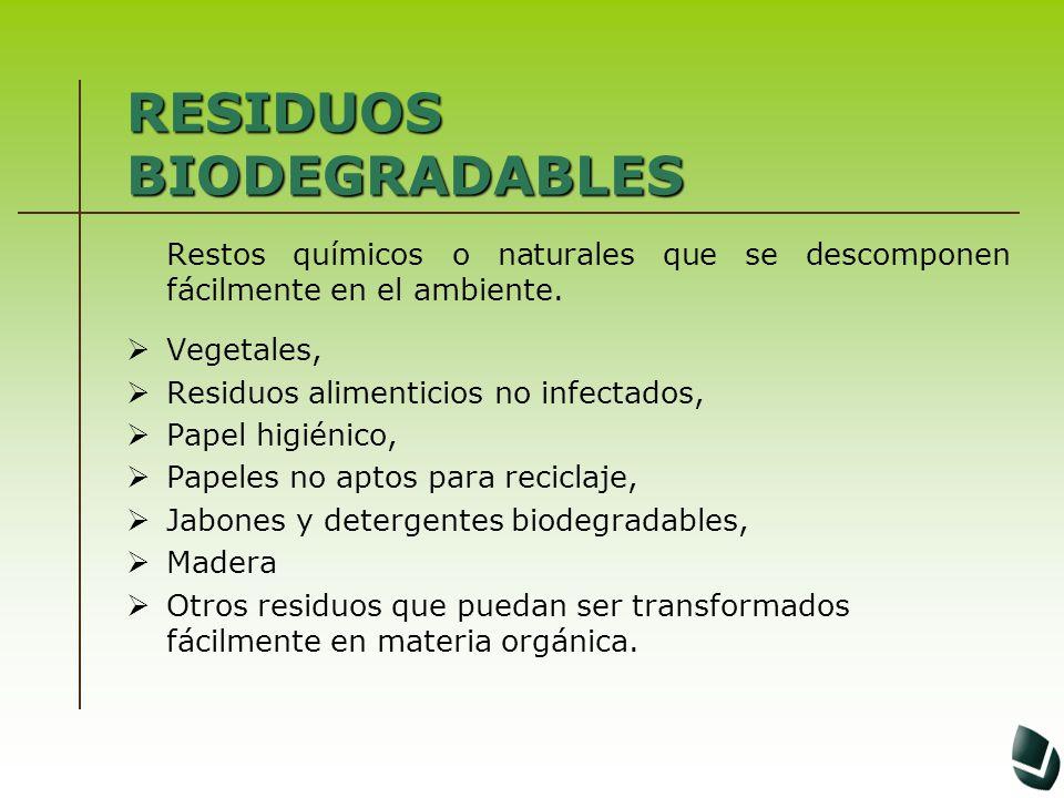 RESIDUOS BIODEGRADABLES Restos químicos o naturales que se descomponen fácilmente en el ambiente. Vegetales, Residuos alimenticios no infectados, Pape