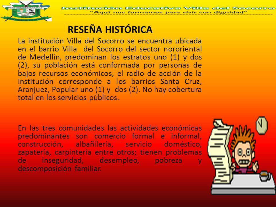RESEÑA HISTÓRICA La institución Villa del Socorro se encuentra ubicada en el barrio Villa del Socorro del sector nororiental de Medellín, predominan l