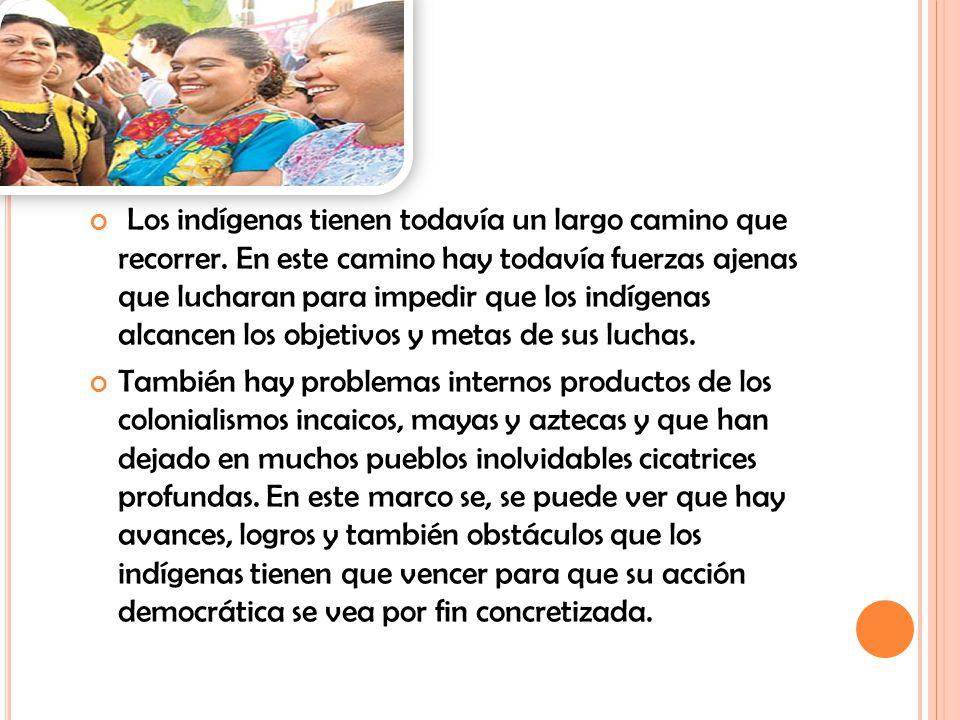 Los indígenas tienen todavía un largo camino que recorrer. En este camino hay todavía fuerzas ajenas que lucharan para impedir que los indígenas alcan
