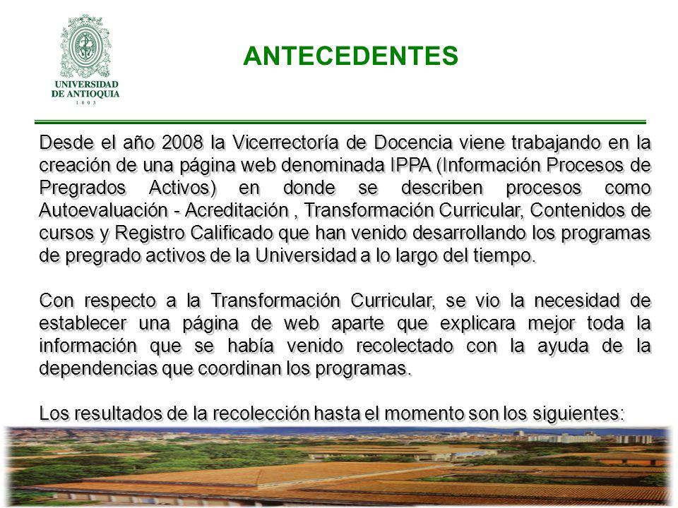 ANTECEDENTES Desde el año 2008 la Vicerrectoría de Docencia viene trabajando en la creación de una página web denominada IPPA (Información Procesos de
