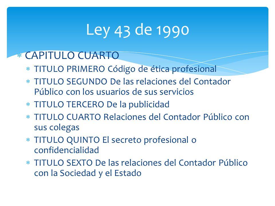 CAPITULO CUARTO TITULO PRIMERO Código de ética profesional TITULO SEGUNDO De las relaciones del Contador Público con los usuarios de sus servicios TIT